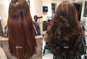 Hair color with hair cut and blow dry